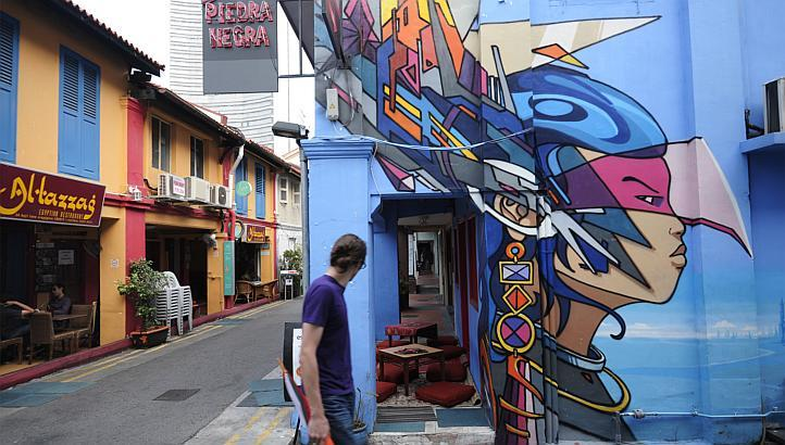 The artwork outside the Blu Jaz Cafe, commissioned by its owner Ms Aileen Tan, was among the street art deemed objectionable. (Image Credit: The Straits Times)