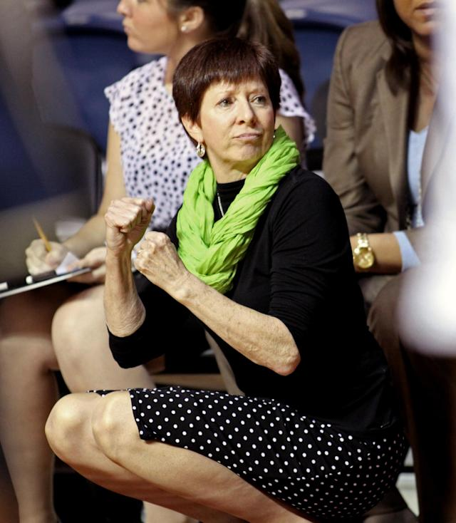 Notre Dame coach Muffet McGraw watches her team play against Penn in the second half of an NCAA college basketball game Saturday Nov. 23, 2013, in Philadelphia. Notre Dame won 76-54. (AP Photo/H. Rumph Jr)