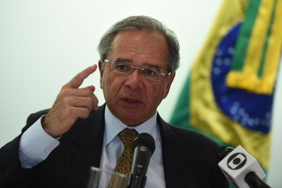 Brazil's Minister of Economy, Paulo Guedes, speaks during a press conference at the Embassy of Brazil in Washington, DC on November 25, 2019. (Photo by Olivier DOULIERY / AFP) (Photo by OLIVIER DOULIERY/AFP via Getty Images)