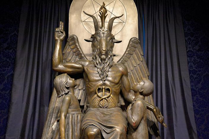 The Baphomet statue in the conversion room at the Satanic Temple in Salem, Massachusetts, on Oct. 8, 2019. (Photo: JOSEPH PREZIOSO via Getty Images)