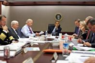 <p>President Obama listens as his advisors—(L-R) Chairman of the Joint Chiefs of Staff Adm. Michael Mullen, Defense Secretary Robert Gates, Biden, National Security Advisor Gen. James Jones, Secretary of State Hillary Clinton, Director of National Intelligence Adm. Dennis C. Blair, and CIA Director Leon Panetta—during a meeting about the situation in Pakistan in the Situation Room of the White House on October 7, 2009. </p>