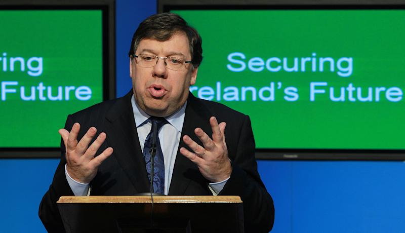 Irish Prime Minister Brian Cowen  speaks to the media at government buildings,  Dublin, Ireland, Wednesday, Nov. 24, 2010. Ireland unveiled the harshest budget measures in its history Wednesday, a four-year plan to slash deficits €15 billion ($20 billion) so it can get a massive bailout from the European Union and the International Monetary Fund.(AP Photo)