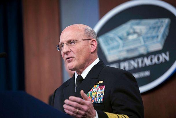 PHOTO: Chief of Naval Operations Adm. Michael M. Gilday speaks at a briefing about the Navy's response to COVID-19, at the Pentagon, Washington, D.C., April 1, 2020. (Lisa Ferdinando/Department of Defense)