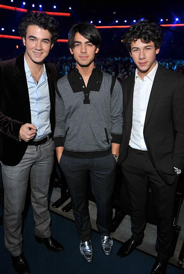 "The Jonas Brothers (Kevin, Joe, and Nick) were also on hand to learn that they had been nominated for Best New Artist. Check out Joe's shiny shoes! Lester Cohen/<a href=""http://www.wireimage.com"" target=""new"">WireImage.com</a> - December 3, 2008"