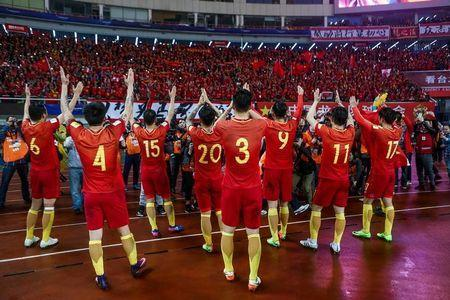 Football Soccer - China v South Korea - 2018 World Cup Qualifiers - Changsha, China - 23/3/17 - Team China celebrates after winning against South Korea. REUTERS/Stringer