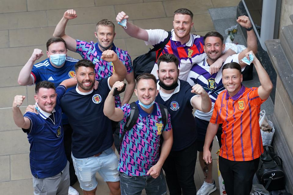 Scotland fans at Edinburgh Waverley railway station as they prepare to travel to London ahead of the UEFA Euro 2020 match between England and Scotland at Wembley Stadium. Issue date: Friday June 18, 2021. (Photo by Jane Barlow/PA Images via Getty Images)