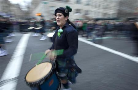 A drummer plays during the St. Patrick's Day Parade in New York
