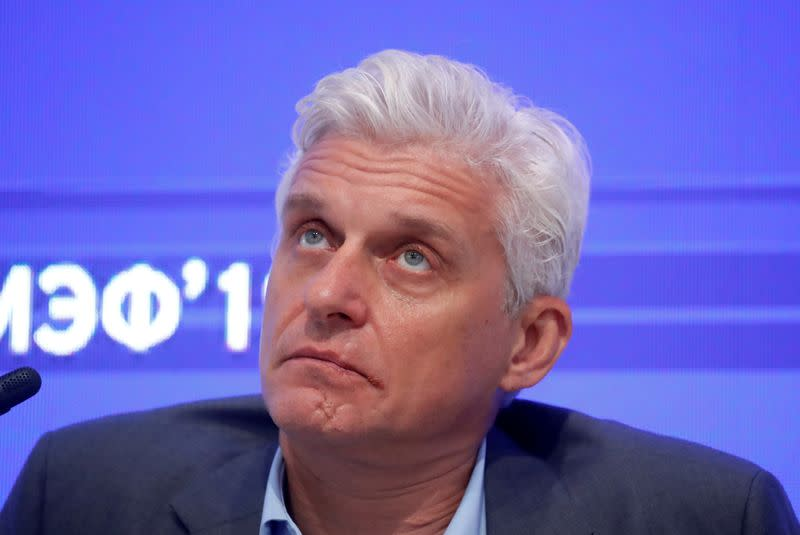 FILE PHOTO: Tinkoff Bank Board Chairman attends the St. Petersburg International Economic Forum