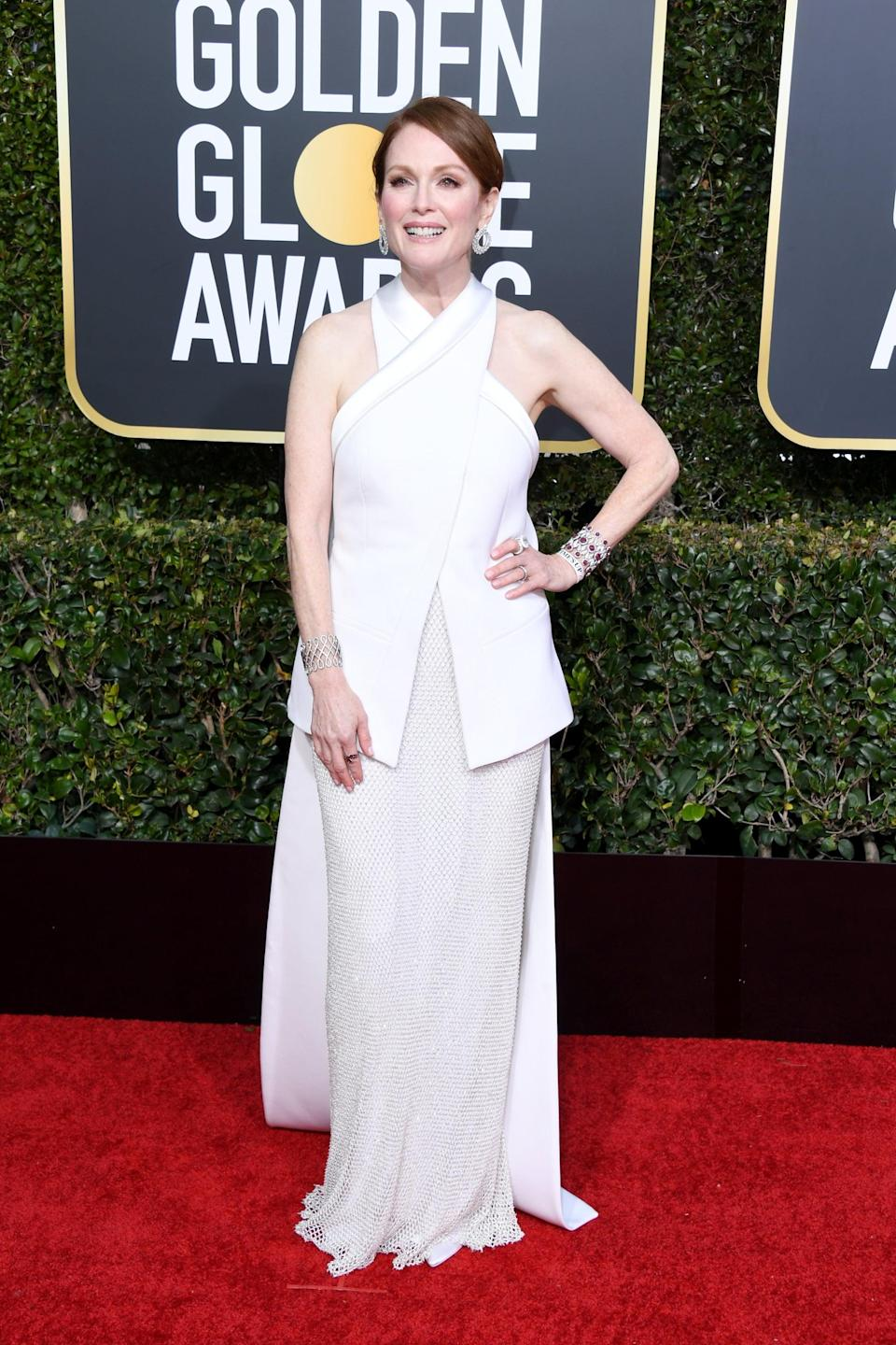 <p>Wearing a Givenchy Haute Couture dress with Chopard jewels.</p>