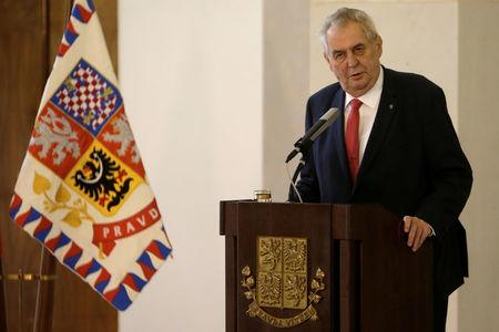 Czech President Milos Zeman announces his decision to run for another term as president during a news conference at Prague Castle in Prague