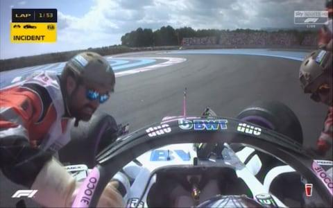 Ocon crashes out - Credit: SKY SPORTS F1