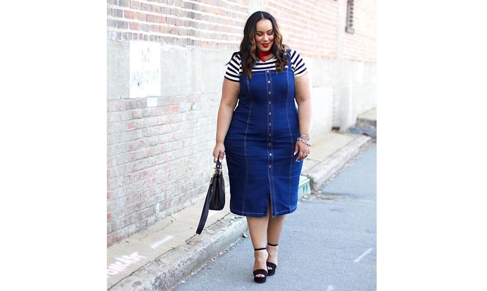 """<p>Denim dresses are back in a big way for spring! Especially formfitting ones like <a href=""""https://www.instagram.com/p/BS2ZjpEFbgr/"""" rel=""""nofollow noopener"""" target=""""_blank"""" data-ylk=""""slk:@iambeauticurve's"""" class=""""link rapid-noclick-resp"""">@iambeauticurve's</a> button-front number. The look has a major Parisian feel paired with a striped shirt and red neckerchief. </p>"""