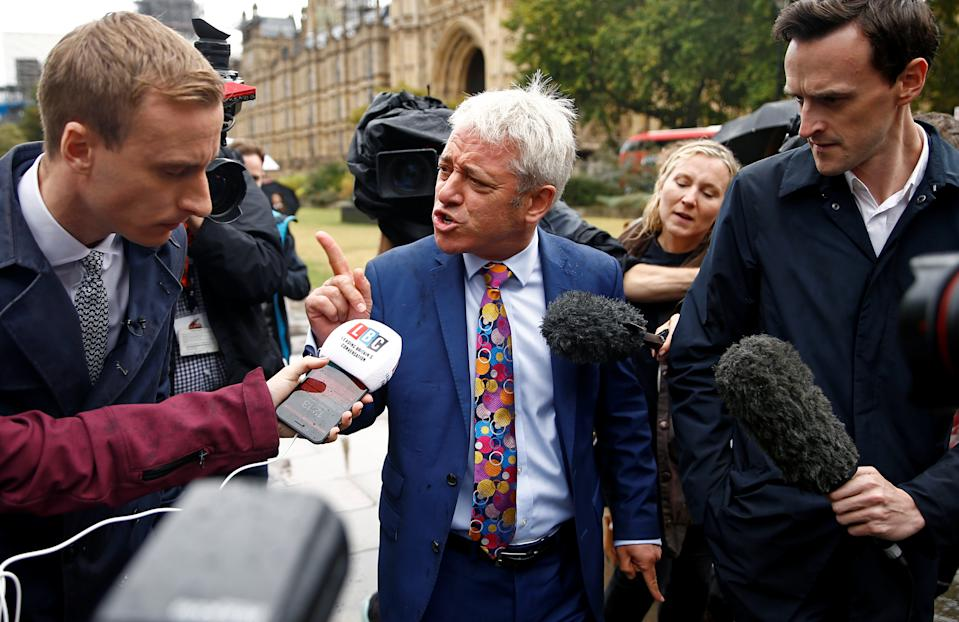 Britain's Speaker of the House of Commons John Bercow, talks to the media outside the Houses of Parliament, in London, Britain September 24, 2019. REUTERS/Henry Nicholls