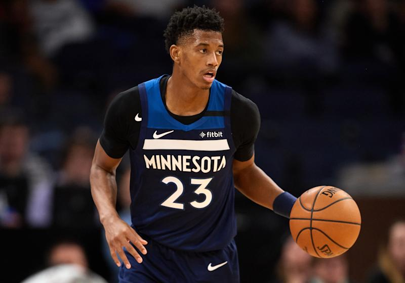 Jarrett Culver #23 of the Minnesota Timberwolves dribbles the ball against the Portland Trail Blazers