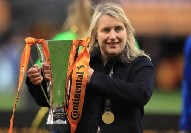Chelsea manager Emma Hayes celebrated another trophy success