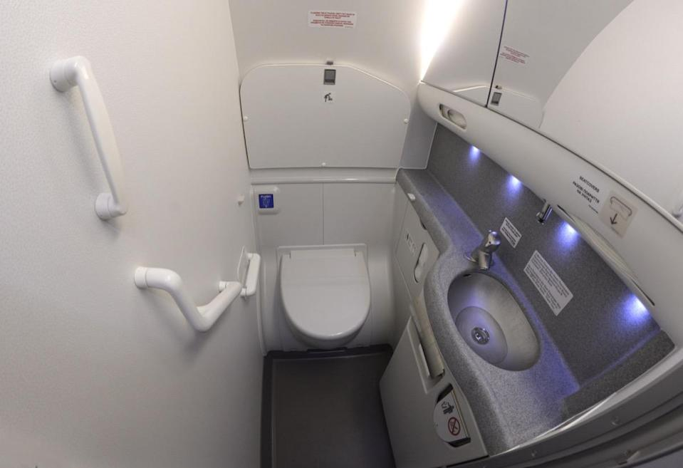 """<strong>Charles Gerba</strong>, a microbiologist at the University of Arizona and a leading researcher in the field of unsanitary aviation, told <a href=""""https://time.com/4877041/dirtiest-places-on-airplanes/"""" rel=""""nofollow noopener"""" target=""""_blank"""" data-ylk=""""slk:Time"""" class=""""link rapid-noclick-resp""""><em>Time</em></a> in 2017 that he's found fecal chloroform E.coli on some of the sinks, flush handles, and <a href=""""https://bestlifeonline.com/dirtiest-place-in-house/?utm_source=yahoo-news&utm_medium=feed&utm_campaign=yahoo-feed"""" rel=""""nofollow noopener"""" target=""""_blank"""" data-ylk=""""slk:toilet seats"""" class=""""link rapid-noclick-resp"""">toilet seats</a> he tested on airplane bathrooms. And even though airplane bathrooms are cleaned when the aircraft lands, that doesn't mean they can't get gross en route to your final destination. """"Depending upon the carrier, you could be sharing your facility with 50 others,"""" says <strong>Brett Manders</strong>, an international airline pilot and author of the book <a href=""""https://amzn.to/2KoioRu"""" rel=""""nofollow noopener"""" target=""""_blank"""" data-ylk=""""slk:Behind the Flight Deck Door: Insider Knowledge About Everything You've Ever Wanted to Ask a Pilot"""" class=""""link rapid-noclick-resp""""><i>Behind the Flight Deck Door: Insider Knowledge About Everything You've Ever Wanted to Ask a Pilot</i></a>. """"If it's a long flight, that adds up to a great many visits to a cramped little space."""" As Manders points out, it only takes a little turbulence to throw off someone's aim or cause splash water from the sink. If you can, wait to use the bathroom on steady ground."""