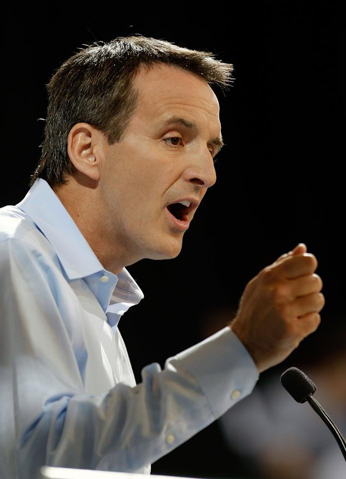 Republican Presidential Candidate and Former Minnesota Governor Tim Pawlenty speaks during the Iowa Republican Party's Straw Poll, Saturday, Aug. 13, 2011, in Ames, Iowa. (AP Photo/Charlie Neibergall)