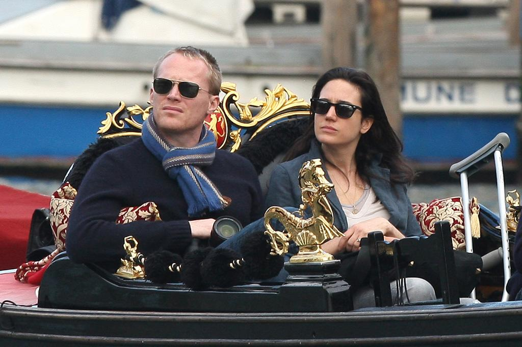 """""""Creation"""" co-stars and real-life marrieds Jennifer Connelly and Paul Bettany took a gondola ride down Venice's Grand Canal with their kids on Thursday. But it's not all vacay for the Bettany fam -- Paul is in town to join Angelina Jolie and Johnny Depp on the set of their new thriller, """"The Tourist"""". Tom Meinelt/<a href=""""http://www.pacificcoastnews.com/"""" target=""""new"""">PacificCoastNews.com</a> - April 1, 2010"""