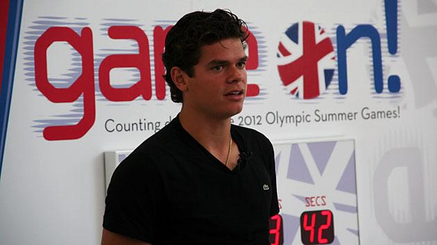 Milos Raonic speaks to fans and the media at Commerce Court  in Toronto. (Photo Courtesy Alex Jones Photography)