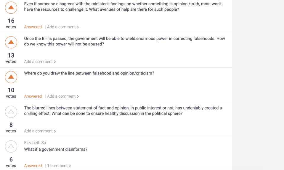 Five out of 41 questions submitted were answered during the forum's panel on facts, falsehoods and free speech on 3 April, 2019. (SCREENSHOT: pigeonhole.at)
