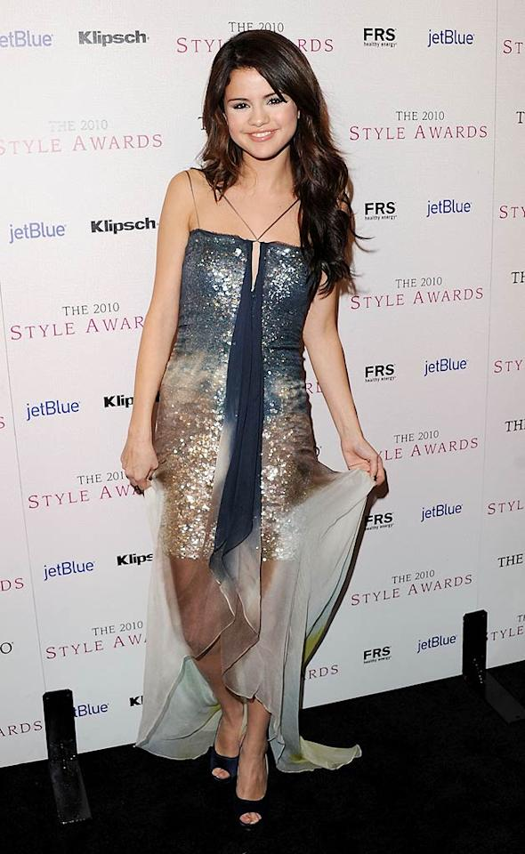 "What's worse ... the bedazzled Max Azria dress Selena Gomez wore to the Hollywood Style Awards or the abundance of white powder she caked on under her eyes? Jon Kopaloff/<a href=""http://www.filmmagic.com/"" target=""new"">FilmMagic.com</a> - December 12, 2010"