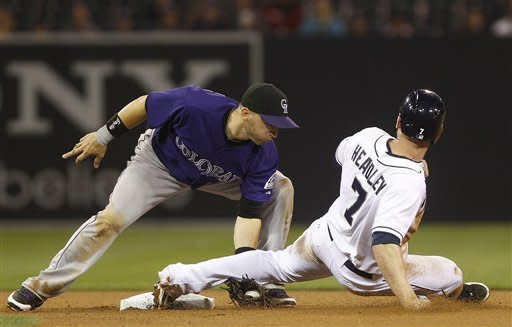 San Diego Padres' Chase Headley is out trying to steal as Colorado Rockies second baseman Marco Scutaro applies the tag during the fifth inning of a baseball game Monday, May 7, 2012 in San Diego. (AP Photo/Lenny Ignelzi)