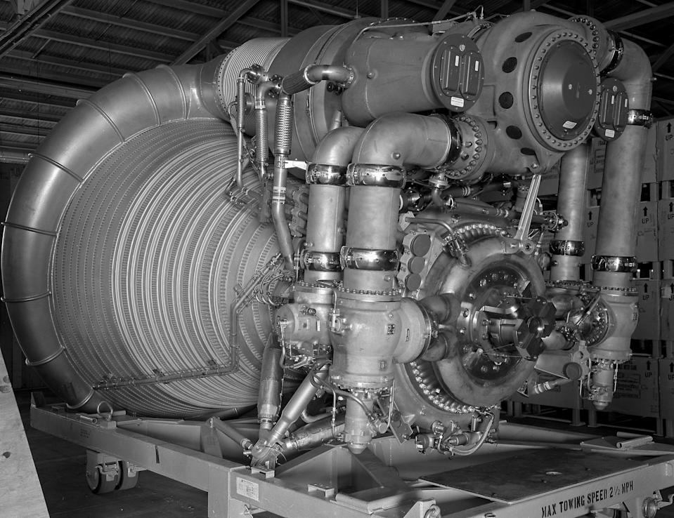 This 1963 photo provided by NASA shows an F-1 Engine for the Saturn V S-IC (first) stage at Marshall Space Flight Center in Huntsville, Ala. An undersea expedition spearheaded by Amazon.com CEO and founder Jeff Bezos used sonar to find what he said were the F-1 engines that helped boost the Apollo 11 mission on July 16, 1969 located 14,000 feet deep in the Atlantic. In an online announcement Wednesday, Bezos said he is drawing up plans to recover the sunken engines, part of the mighty Saturn V rocket that launched Neil Armstrong, Buzz Aldrin and Michael Collins on their moon mission. (AP Photo/NASA)