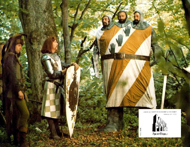 <em>Monty Python And The Holy Grail </em>lobbycard, 1975. From left: Neil Innes, Eric Idle, Terry Jones, Graham Chapman and Michael Palin. (LMPC via Getty Images)