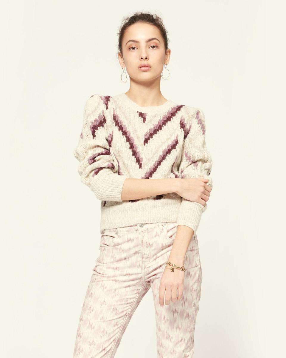 "<p><strong>Isabel Marant</strong></p><p>isabelmarant.com</p><p><strong>$545.00</strong></p><p><a href=""https://www.isabelmarant.com/us/isabel-marant-etoile/long-sleeve-sweater_cod38935418kr.html?backTo=shop_etoile_knitwear"" rel=""nofollow noopener"" target=""_blank"" data-ylk=""slk:Shop Now"" class=""link rapid-noclick-resp"">Shop Now</a></p>"