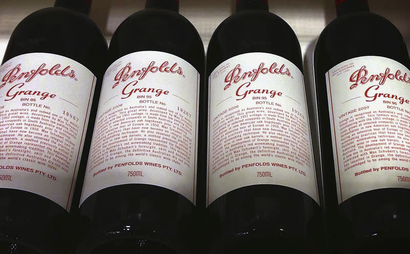 Bottles of Penfolds Grange are on sale at a wine shop in central Sydney