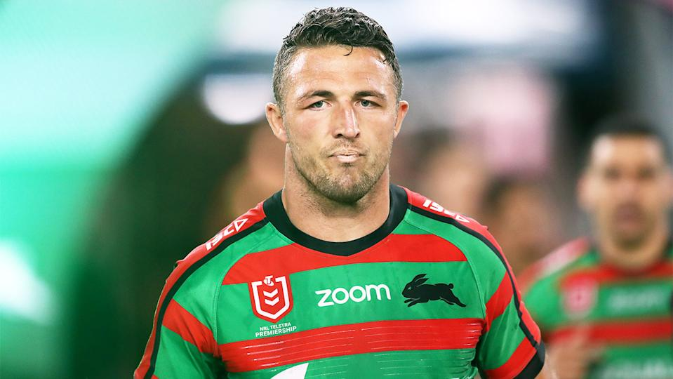 Former South Sydney star Sam Burgess in the jersey.