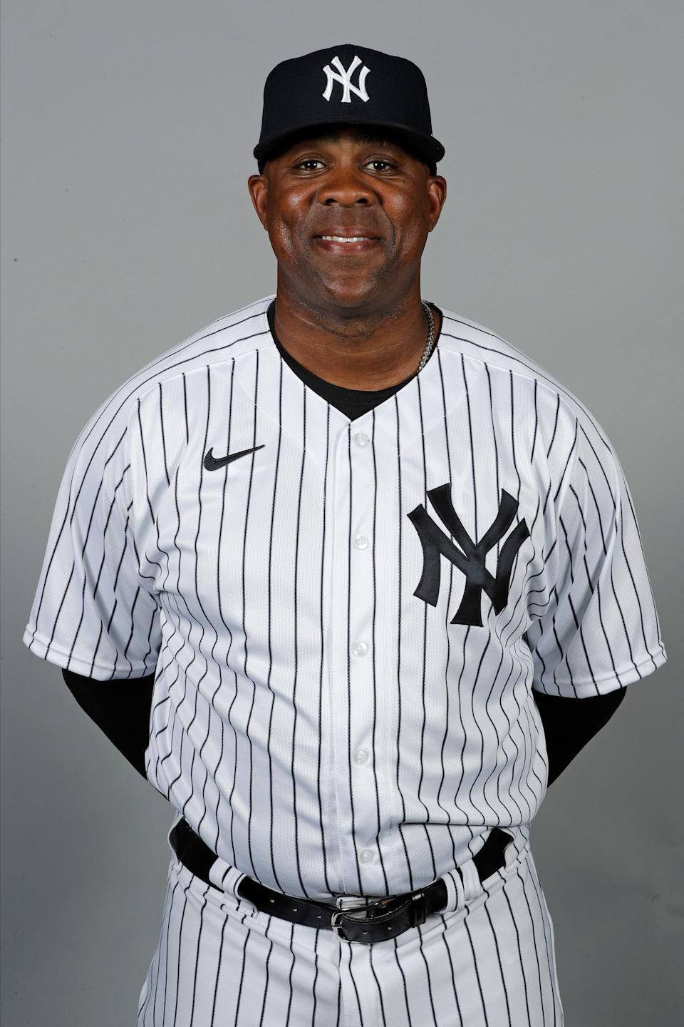 New York Yankees hitting coach Marcus Thames during media day, Thursday, Feb. 20, 2020 in Tampa, Florida.