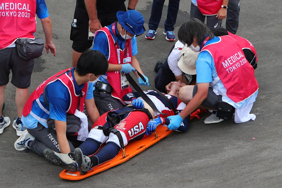 TOKYO, JAPAN - JULY 30: Connor Fields of Team United States in a serious crash is helped by medical staff during the Men's Cycling BMX Racing Semifinal on Day 7 of the Tokyo 2020 Olympic Games at Ariake Urban Sports Park on July 30, 2021 in Tokyo, Japan. (Photo by Pete Dovgan/Speed Media/Icon Sportswire via Getty Images)