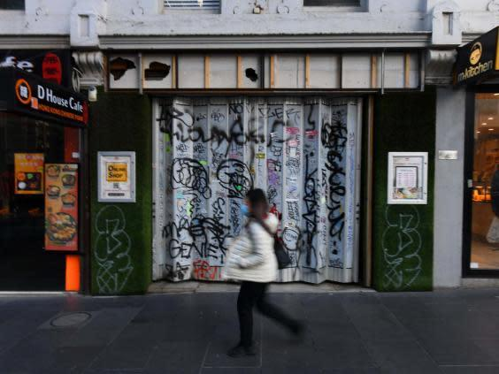 Closed-up business in Melbourne, which will remain under strict lockdown for another five weeks (EPA)