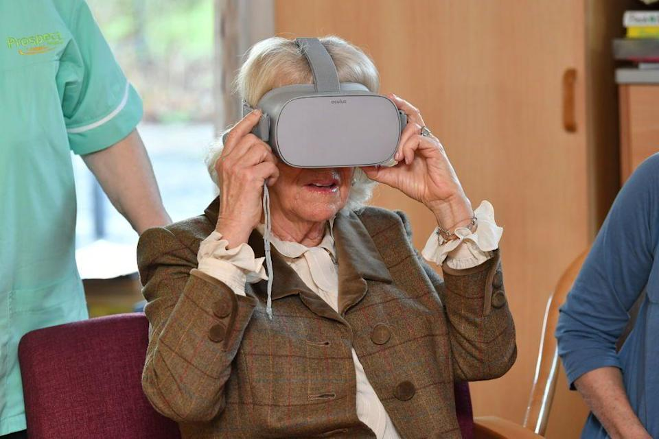 <p>Camilla, Duchess of Cornwall experiments with the wild world of virtual reality at Prospect Hospice in Swindon. </p>
