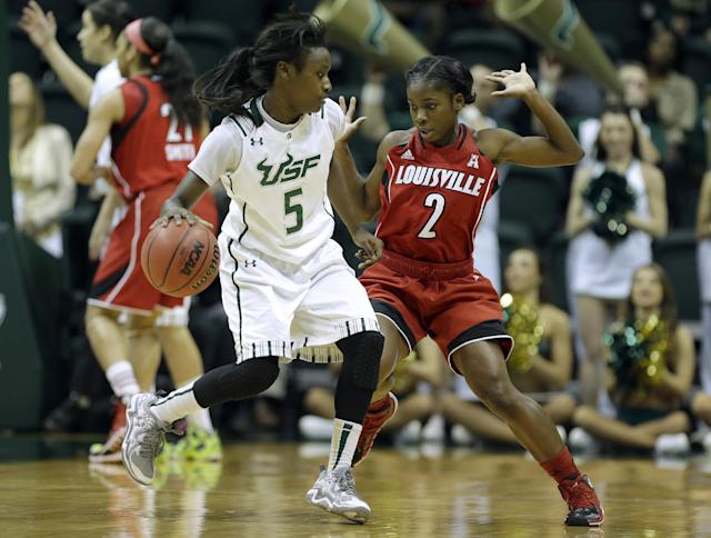 South Florida guard Trimaine McCullough (5) runs into Louisville guard Monny Niamke (2) while driving upcourt during the first half of an NCAA college basketball game on Sunday, Jan. 12, 2014, in Tampa, Fla. (AP Photo/Chris O'Meara)
