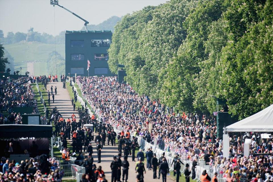 <p>Among the guests were 2200 members of the public, the royal family and Ms. Markle's Mother Doria Ragland. (Getty) </p>