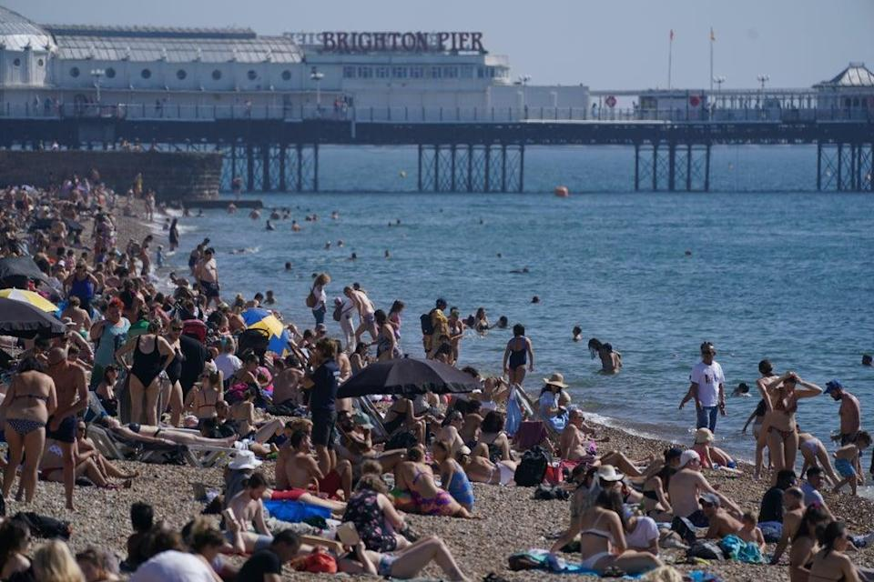 People flocked to Brighton beach (Steve Parsons/PA) (PA Wire)