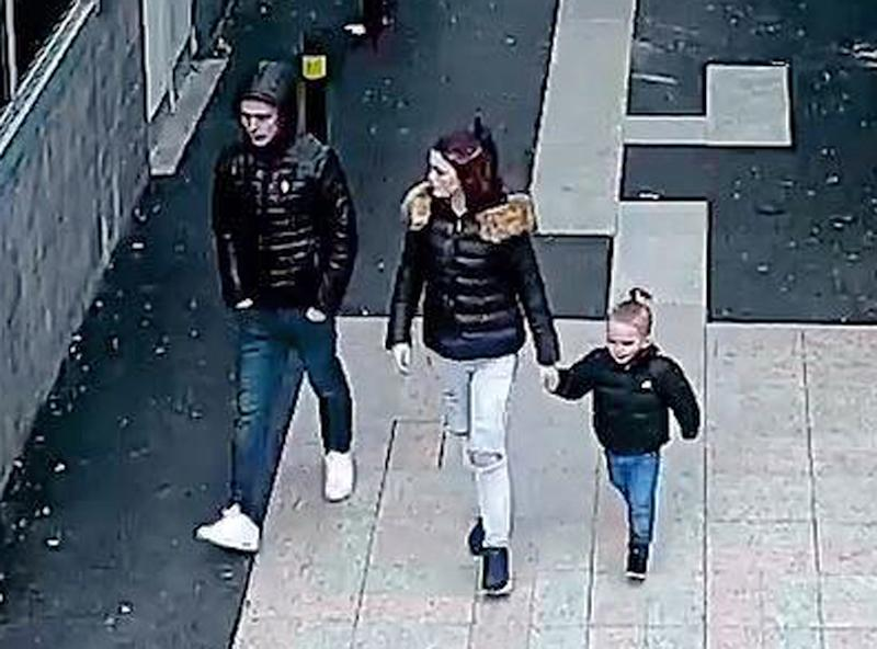 Video grab taken from CCTV of Stephen Waterson and Adrian Hoare with Alfie Lamb, on a shopping trip to Sutton on the day he died. (Metropolitan Police)