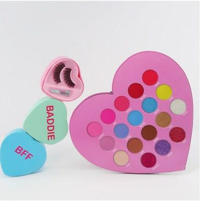 Conversation hearts inspired lashes and Sugary hearts palette