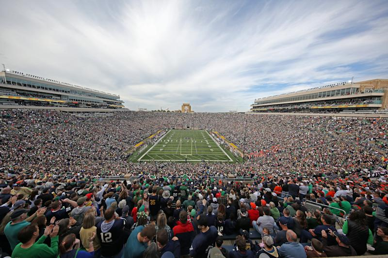 SOUTH BEND, IN - OCTOBER 05: A wide angle general view of the Notre Dame Fighting Irish playing against the Bowling Green Falcons during the first quarter on October 05, 2019, at Notre Dame Stadium in South Bend, Indiana. (Photo by Brian Spurlock/Icon Sportswire via Getty Images)