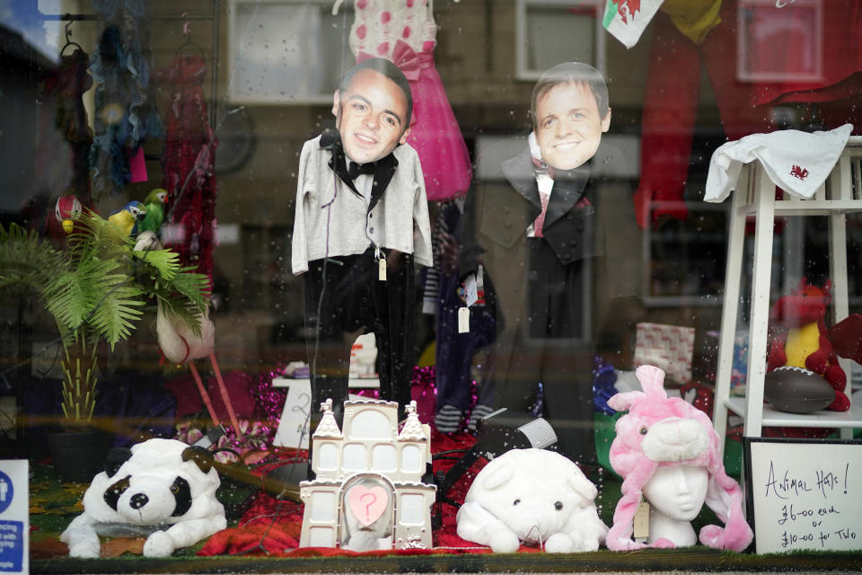 Shops and businesses in Abergele decorate their windows to welcome the cast of ITV's reality TV show 'I'm A Celebrity Get Me Out Of Here'. (Photo by Christopher Furlong/Getty Images)