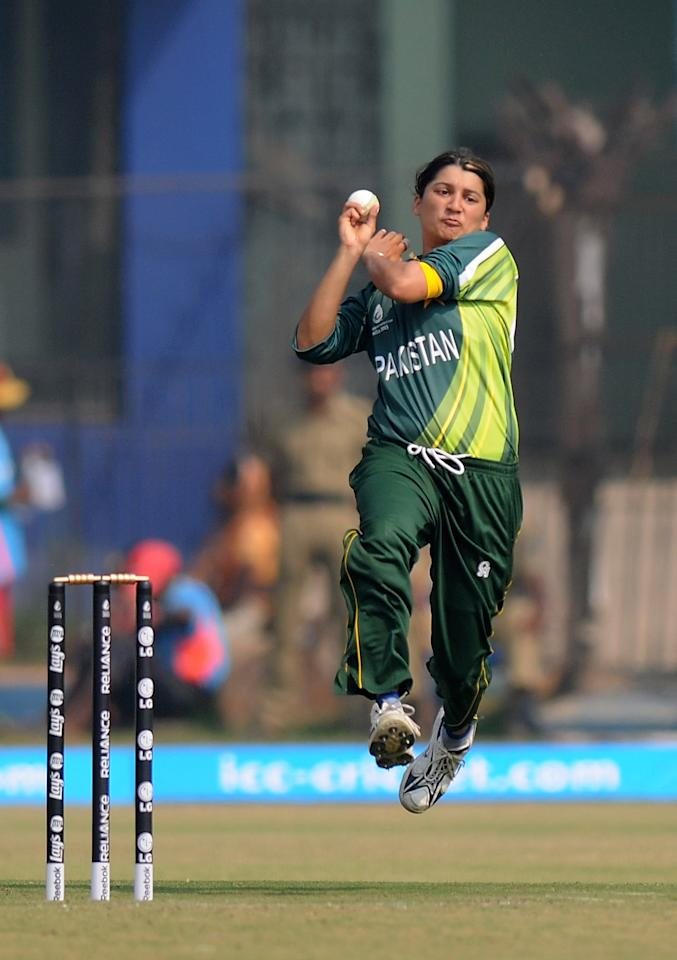 CUTTACK, INDIA - FEBRUARY 01:  Asmavia Iqbal of Pakistan bowls during the second match of ICC Womens World Cup between Australia and Pakistan, played at the Barabati stadium on February 1, 2013 in Cuttack, India.  (Photo by Pal Pillai-ICC/ICC via Getty Images)
