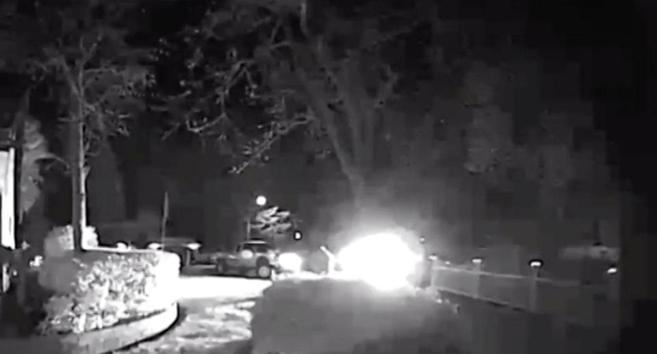 Residents of Fair Oaks, Sacramento, are shaken by a number of boom noises which have been heard for weeks. Pictured: CCTV from a home capturing one of the explosions. Source: CBS13 Sacramento