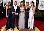 Sylvester Stallone in Brunello Cucinelli with his wife and daughters at the 73rd Golden Globe Awards.