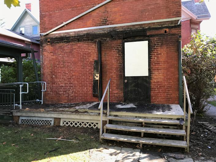 The back porch of the Susan B. Anthony Museum & House at 17 Madison was heavily damaged in a fire on Sept. 26, 2021.