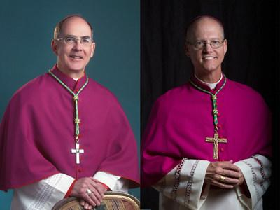 Archbishop J. Peter Sartain welcomes Coadjutor Archbishop Paul D. Etienne to the Archdiocese of Seattle.