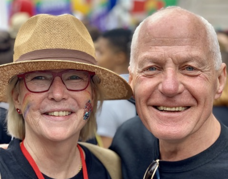 Jan Gooding (L) at Pride in London. Photo: Jan Gooding