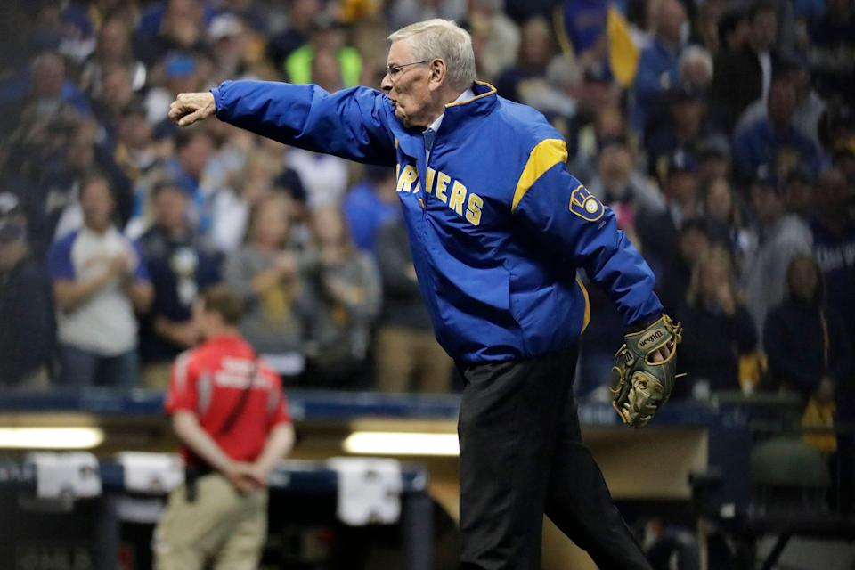 Bud Selig throws out the first pitch at a Brewers game in 2018.