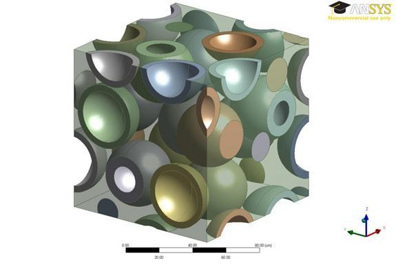 A 3-D computer model showing hollow particles inside a polymer. Engineers made the polymer transparent to better reveal how the hollow glass particles are distributed within the material.